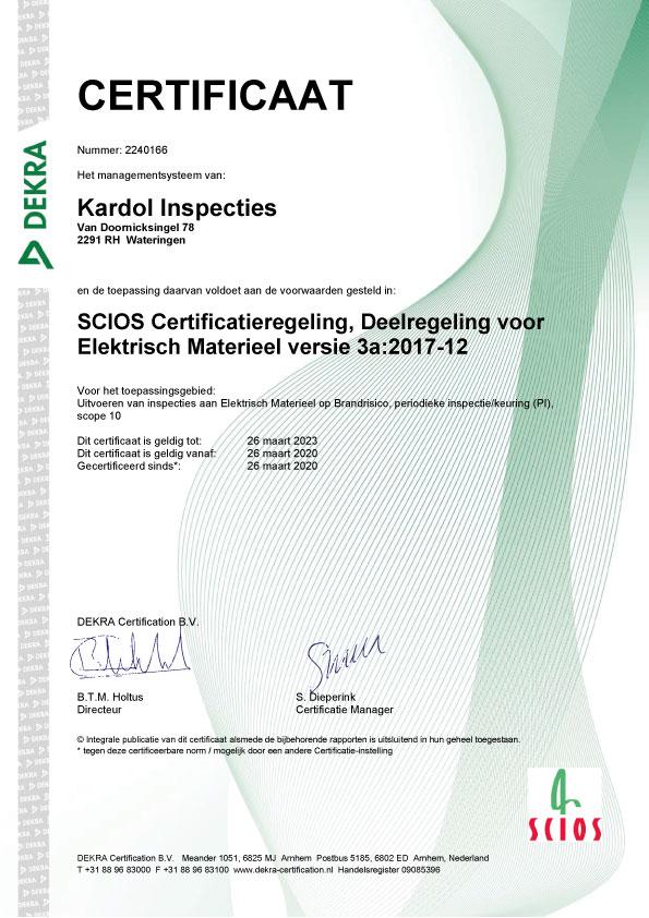 Scios Certificaat - Elektrisch Materieel - Kardol Inspecties