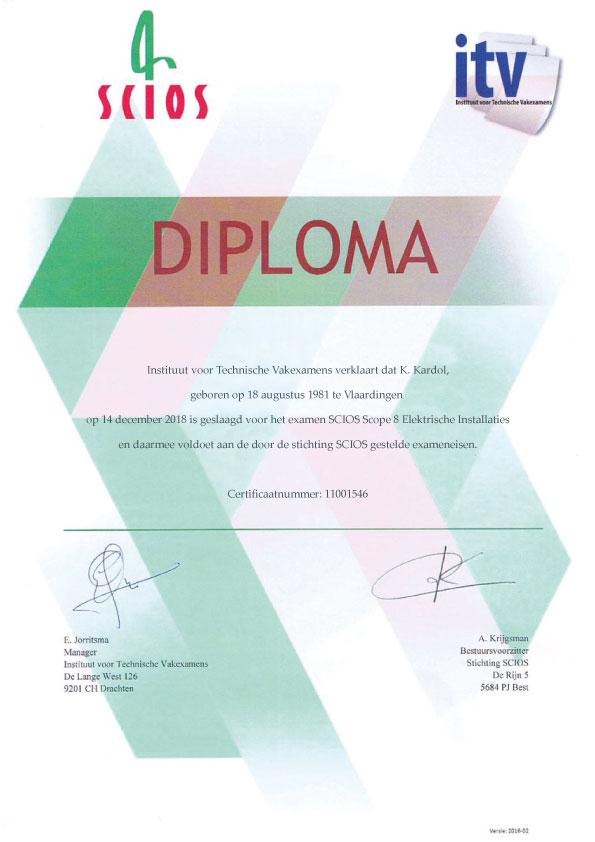 Scios Scope 8 Diploma - Kardol Inspecties