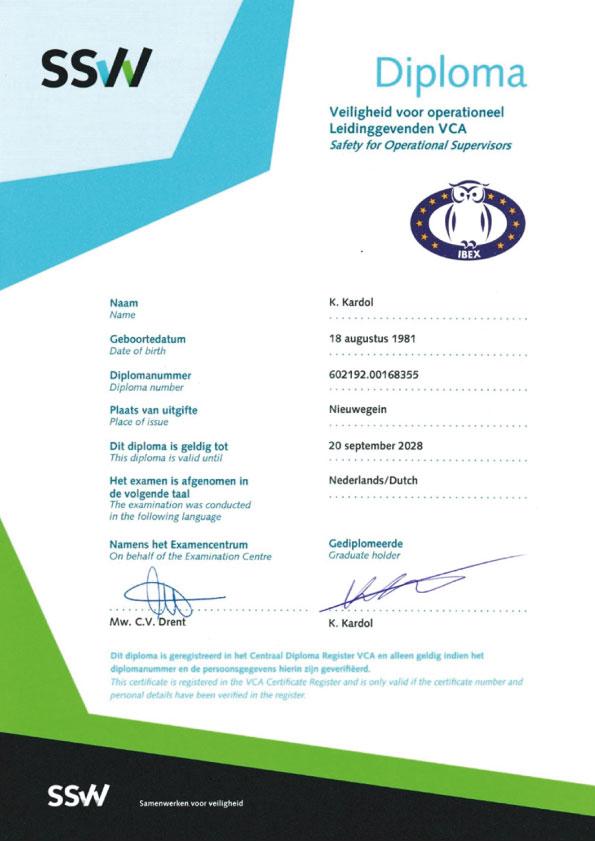 SSW Diploma - Kardol Inspecties